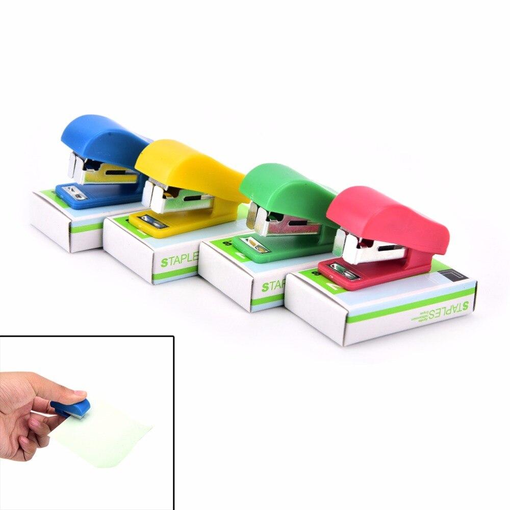 New Mini Stapler Candy Solid Color Plastic Fastener Paper Stapler Manual Stapler No. 10 Staples Set Random Color