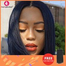 Short Bob Wigs Bone Straight Human Hair Wigs for Black Women Pre-Plucked 4x4 Closure Wig Brazilian Hair Lace Wigs 150% Denisty
