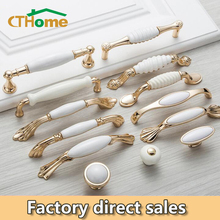 цена на Antique Bronze Ceramic White Cabinet Handles Zinc Alloy Drawer knobs Wardrobe Door Handle Simple European Furniture Hardware