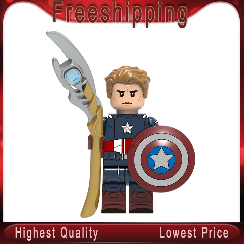 Steve Rogers Legoing Captain America Loki Thor Tree Man Carter Jane Rambeau Avenger Super Hero  Building Blocks Kids Toys XH1393