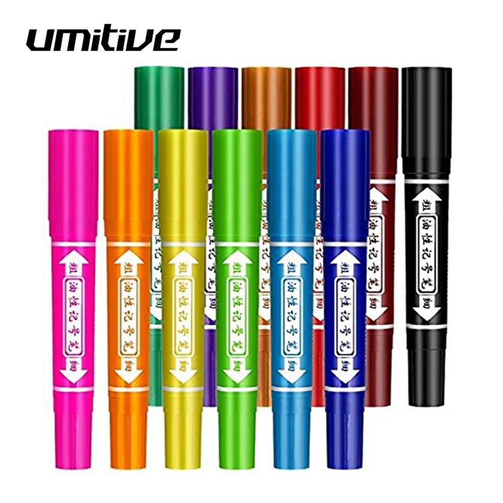 Ofis ve Okul Malzemeleri'ten Tahta Kalemleri'de Umitive 12 renk yağ bazlı keçeli kalem kalemler kalın keski ve güzel İpuçları yüzeyler için kağıt cam plastik ahşap title=