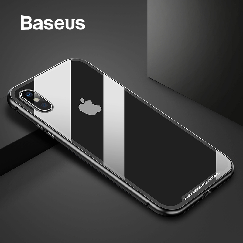 Baseus Magnetic Adsorção Do Caso Da Aleta Para o iphone XR Xs Max Xs Xs Fram Metal Caixa De Vidro Temperado Para o iphone 2018 tampa Do telefone Coque