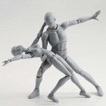 BODY KUN / BODY CHAN body-chan body-kun Grey Color Ver. Black PVC Action Figure Collectible Model Toy shf s h figuarts takarai rihito body kun pale orange color ver pvc action figure collectible model toy