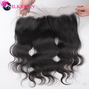 Silkswan Hair Brazilian 13*4 Lace Frontal Body Wave Remy Human Hair Ear To Ear Closure pre-plucked hairline with baby hair(China)