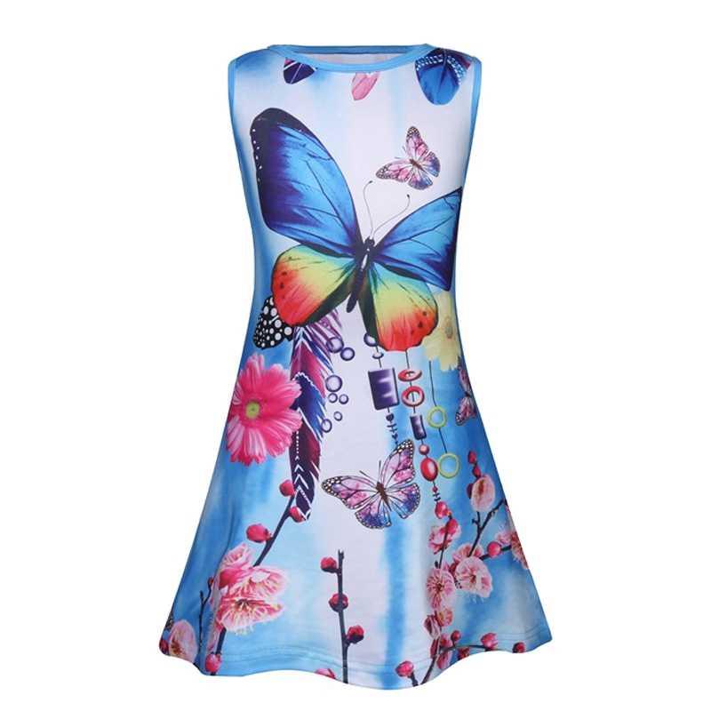 Детское платье с рисунком единорога для девочек, детские летние платья с бабочками для дня рождения, летние мягкие детские платья для девочек