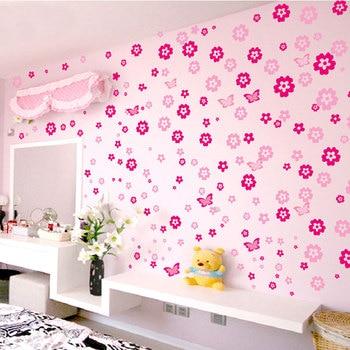 108pcs Flowers & 6pcs Butterfly Wall Stickers