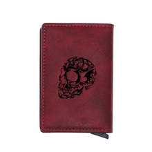 Steampunk Red Leather Skull Credit Card Holder Wallet Classic Men Women Slim Small Credit Card Short Purse
