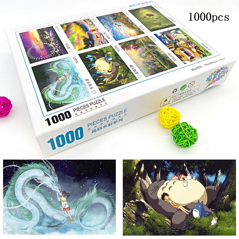 Wooden Puzzles 1000 Pieces Cartoon Anime Spirited Away Totoro Jigsaw Educational Kids Adult Antistress Brain Teaser Puzzles Toys