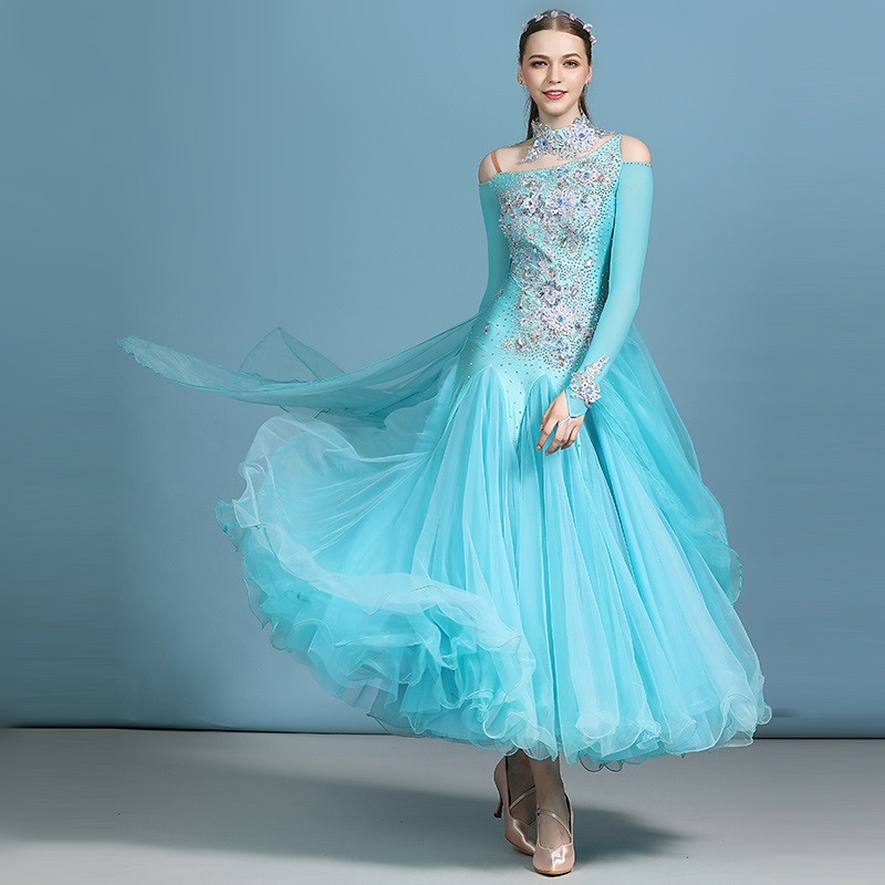 Blue Ballroom Dress Standard Dance Dress For Dancing Ballroom Waltz Dance Costumes Foxtrot Dress Dance Competition Costume Swing