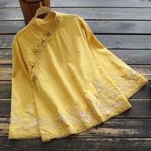 Женский Хлопковый жакет с вышивкой рубашка в этническом стиле