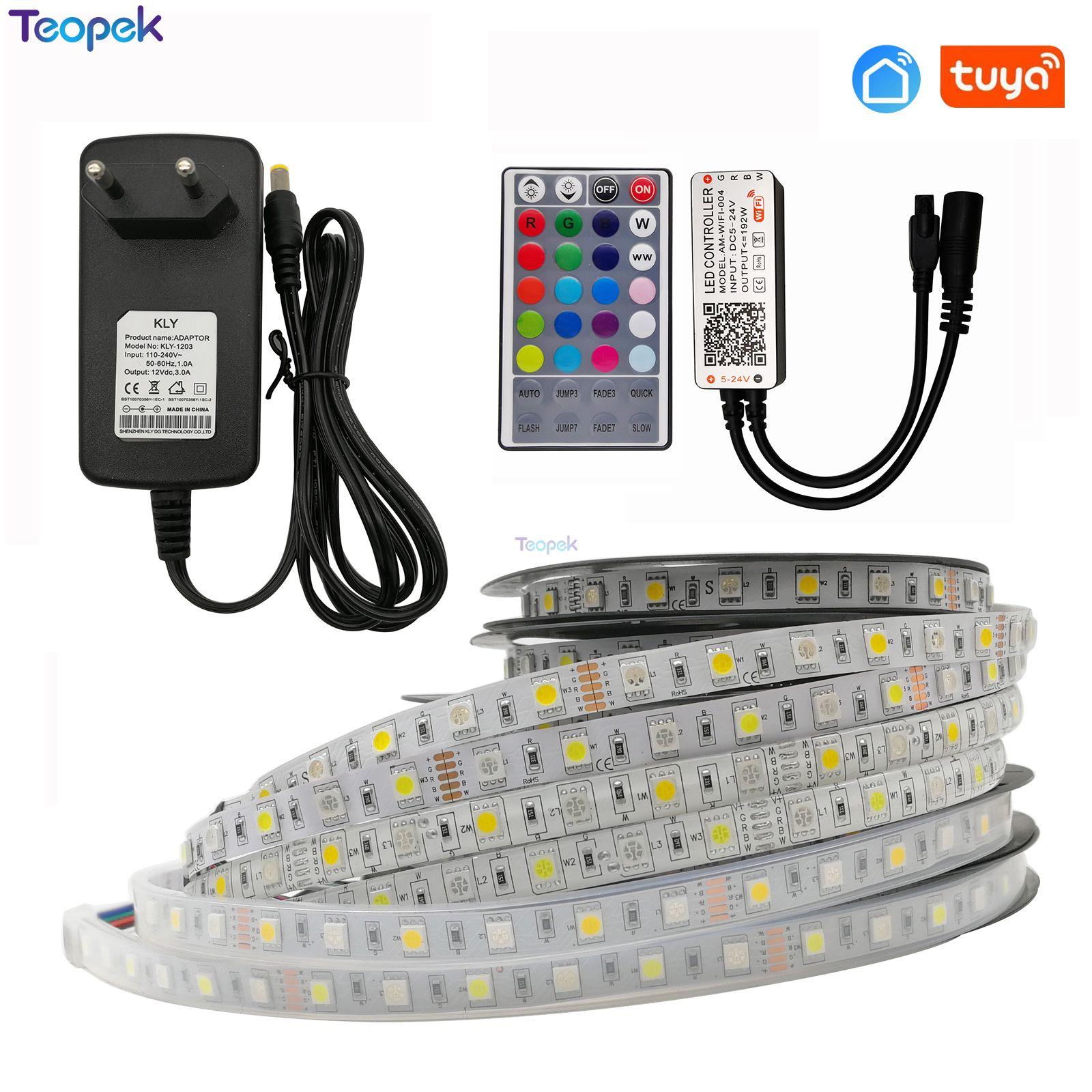 Tuya RGBW LED Strip Set 5050 60led/M RGBW LED Tape DC12V IP30/IP65/IP67+ Smart Life Wifi Controller + Power Adapter