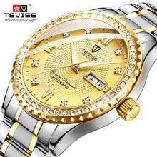 цена на TEVISE Luxury Gold Dial Men Stailness steel Automatic Watch Fashion Men Luminous Mechanical Clock Relogio Masculino