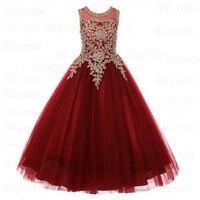 little Girls Pageant Dress Gold Applique Kids Ball Gowns For Children Fancy Prom Party Dress For Girls Vestido Menina