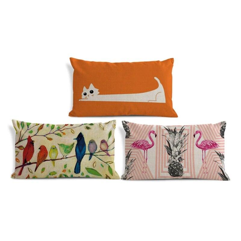 Cute Cartoon Animal Pillowcase Cat Flamingo Cardinal Bird Toucan Owl Sofa Decoration Cushion Cover Polyester Linen Pillow 30 50 Pillow Case Bird Cushion Casethrow Pillow Cases Aliexpress