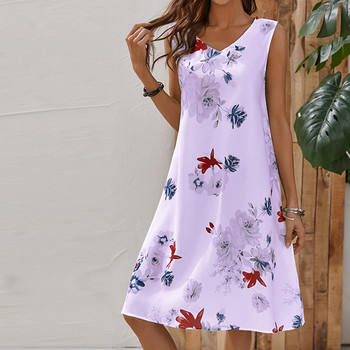 Summer Women Floral Casual Dress Plus Size Sleeveless V Neck Elegant Dresses For Women Clothing Vestidos Mujer Verano Autumn Beach Casual Dresses Elegant Dresses Evening Mini Party Print Dresses Sexy Sleeveless Slim Spring Summer V Neck Women Color: Pink Size: S