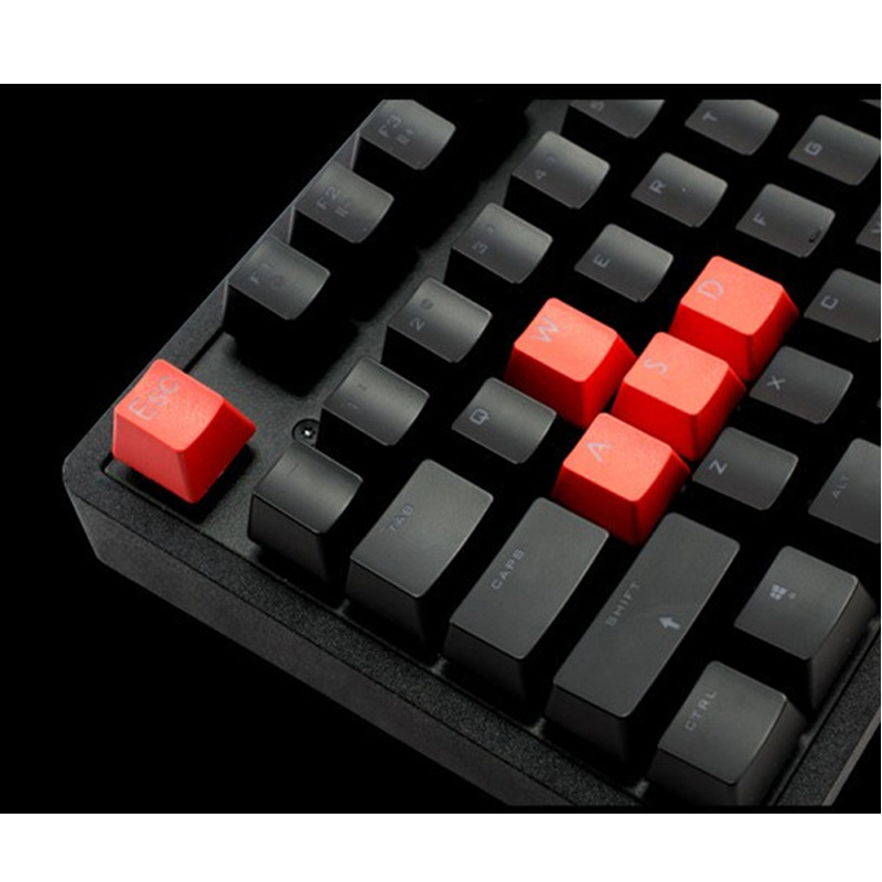 9 Keys PBT Keycaps Set Translucent Waterproof For Mechanical Keyboard Gaming Replacement Red