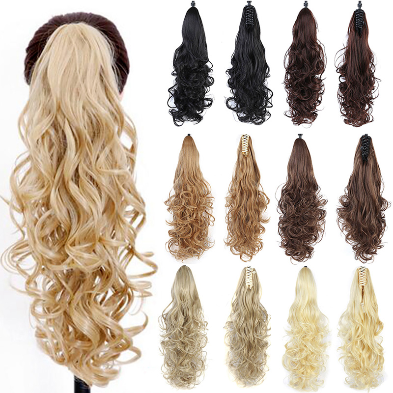 ALI shop ...  ... 32887242836 ... 2 ... DIFEI Synthetic Women Claw on Ponytail Clip in Hair Extensions Wavy Curly Style Pony Tail Hairpiece Black Brown Blonde Hairstyle ...