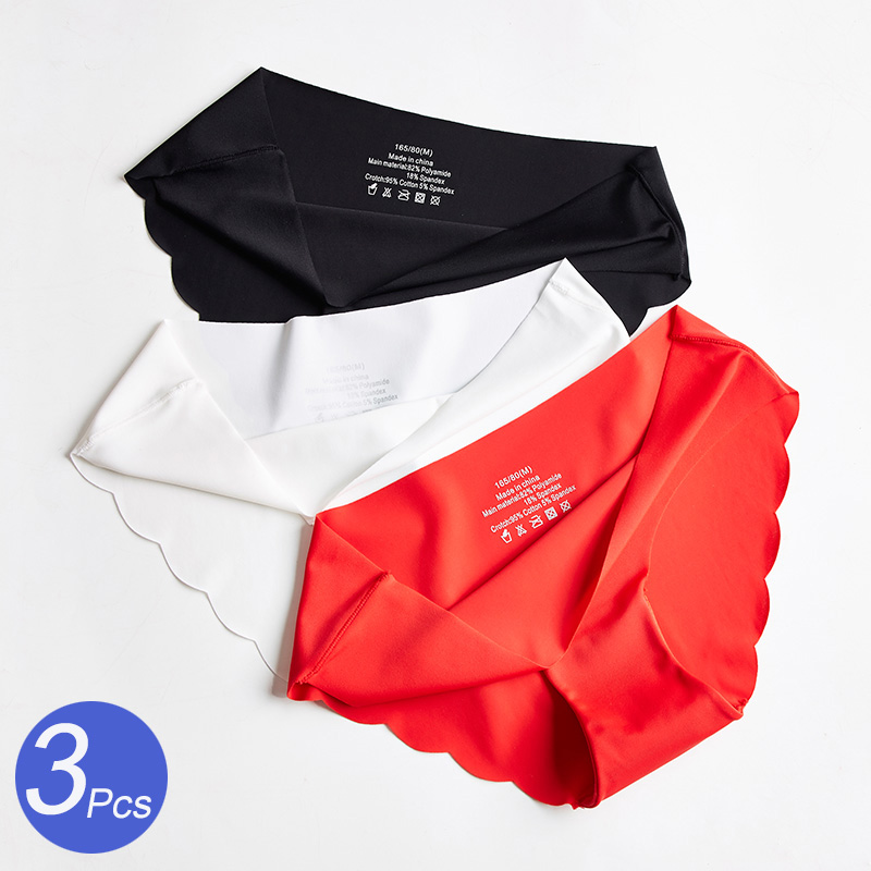 3Pcs/Set Seamless Panties Set Underwear Women's Lingerie Soft SILK Female Fashion Panty Sexy Lady Intimates Low Rise Briefs Set