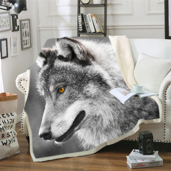 Wolf Blanket for Men 3d HD Cartoon Blanket Double Thick Warm Super Soft Flannel Lion Blankets for Sofa Bedding Carpet Dropship aibeile 2018 new high quality flannel baby blanket newborn super soft cartoon blankets 100 110 cm for beds thick warm kid