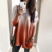 2019 Autumn Women Gradient Color Shirts Round Neck Long Sleeve Pullover Shirt Blouse Ladies Casual Loose Breathable Tops IR-ing(China)