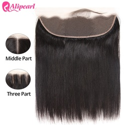 AliPearl Hair Ear to Ear Lace Frontal Closure 13X4 Free Part With Baby Hair Pre Plucked Brazilian Straight Human Hair Remy Hair
