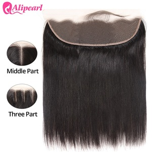 AliPearl Hair Ear to Ear Lace Frontal Closure 13X4 Free Part With Baby Hair Pre Plucked Brazilian Straight Human Hair Remy Hair(China)