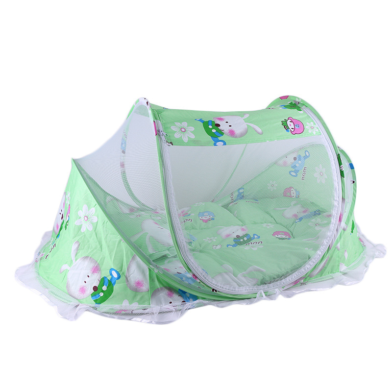 Baby Bedding Crib Netting Folding Baby Mosquito Nets Bed Mattress Pillow Three-piece Suit For 0-2 Years Old Children Portable