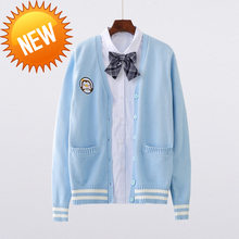 Cute new Penguin baby embroidery college style Japan soft sister uniforms knitted Knit cardigan sweater blue & white(China)