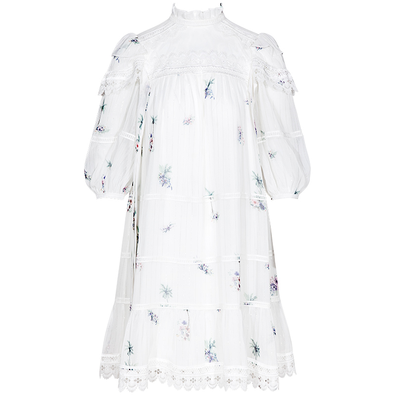 YIGELILA femmes doux mousseline de soie imprimé robe a-ligne o-cou lanterne-manches au-dessus du genou Mini mignon robe 64995 - 5