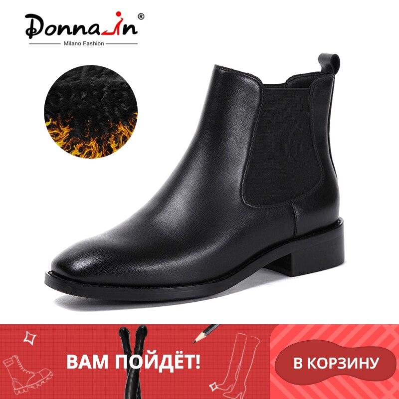 Donna-in femmes bottes 2019 en cuir véritable Chelsea bottes à la main bottines marque bout carré gros dames chaussures en peluche taille