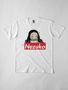 Camiseta branca do kimetsu do assassino do demônio pequeno adorável de nezuko do logotipo da caixa