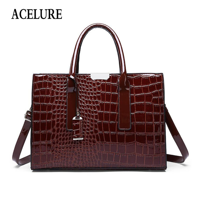 ACELURE Alligator PU Leather Shoulder Bags For Women Solid Color Hard Handle Handbags Ladies High-Capacity Crossbody Bags Totes