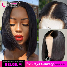 Lace-Front Short Human-Hair-Wigs Unice Hair Blunt-Cut Brazilian-Wigs Deep-Part Bob Straight