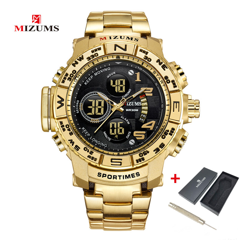 MIZUMS Men Watch Gold Quartz Analog Digital LED Display Steel Band Sport Business Stop Watches for Men Chrono Military Clock