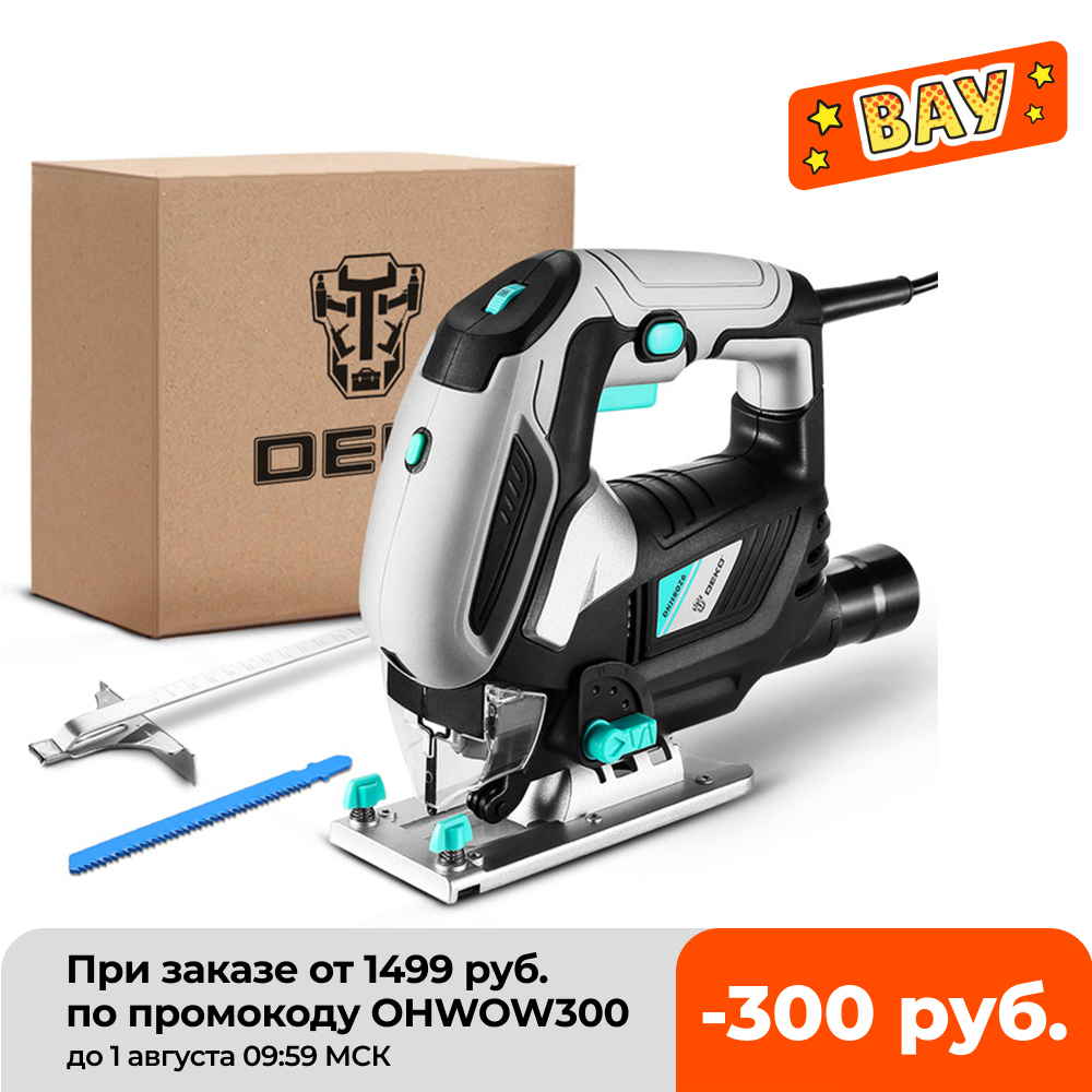 DEKO Jig Saw Variable Speed Electric Saw with 1 Piece Blades, 2 Carbon Brushes, 1 Metal Ruler, 1 Allen Wrench Jigsaw Power Tool Electric Saws  - AliExpress