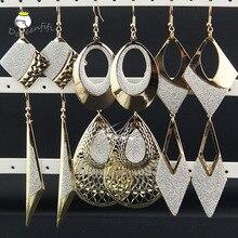 Микс, 6 пар, Микс, модные золотые матовые ромбовидные овальные серьги в форме капли воды для женщин,, длинные женские серьги-подвески, подарок