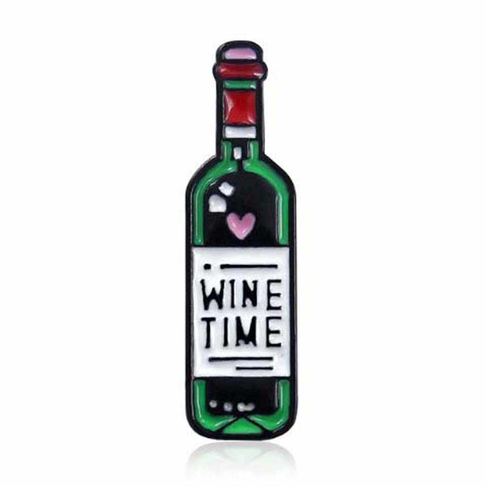 النبيذ الوقت صغيرة لطيف النبيذ و كؤوس مشروبات دبابيس زوجين زجاجة نبيذ أحمر كأس دبابيس الشارات المثبته بالدبابيس لعشاق أفضل صديق دبابيس