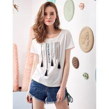 Женская футболка с кисточками artka разноцветная круглым вырезом