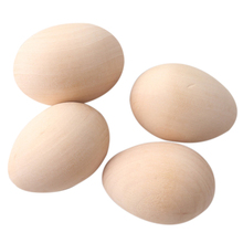 63Mm 12Pc Large Wooden Eggs Shape Diy Unfinished Wood Egg Handmade Bottom Wooden Teething Toys Nurse Gifts Baby Teether