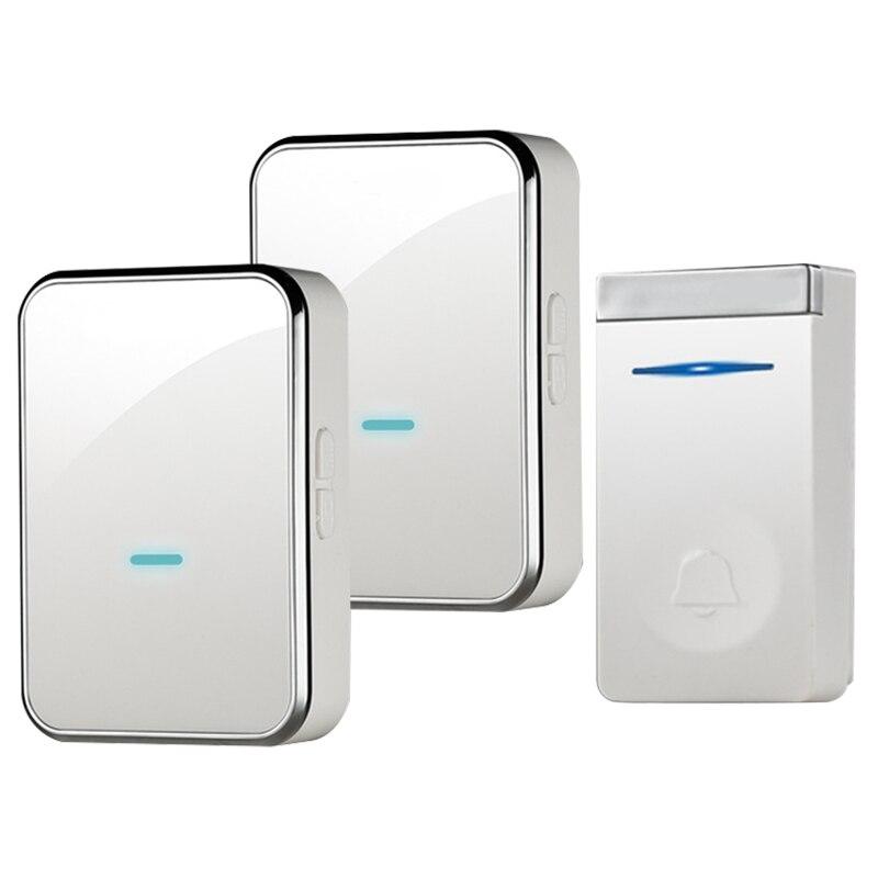 Wireless Doorbell Self-Powered No Battery Waterproof 150M Range Door Bell Push Button Door Chime For Old People(Us Plug)