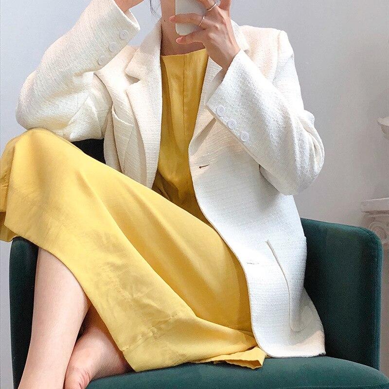 2020  Women White Blazer Turn Down Collar Women Spring Tops Coat Long Sleeve Casaco Feminino Outwear Chic Tops For Women