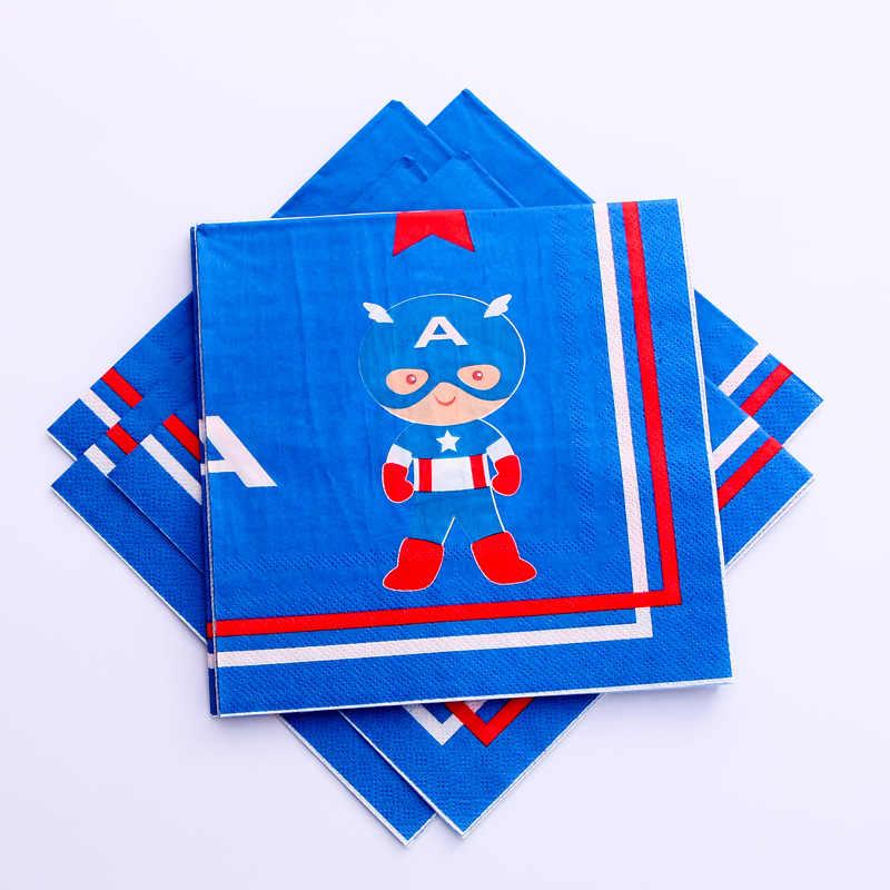 7/9 pulgadas Capitán América placa temática servilletas tazas tema evento cumpleaños fiesta personaje dibujos animados tema desechable placa superhéroe