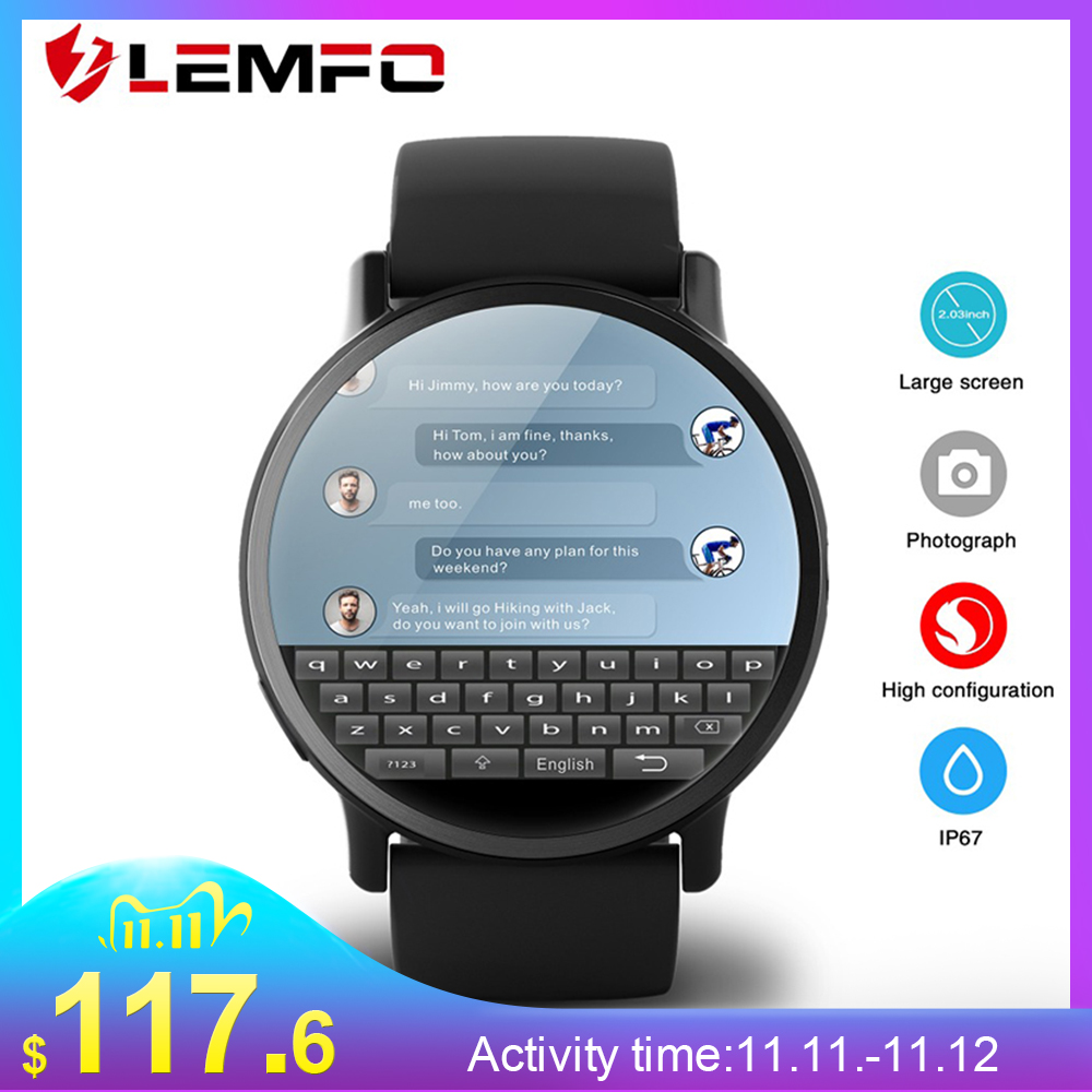 LEMFO LEM X 4G Smart Watch Android 7 1 With 8MP Camera GPS 2 03 inch Screen 900Mah Battery Sport Business Strap For Men