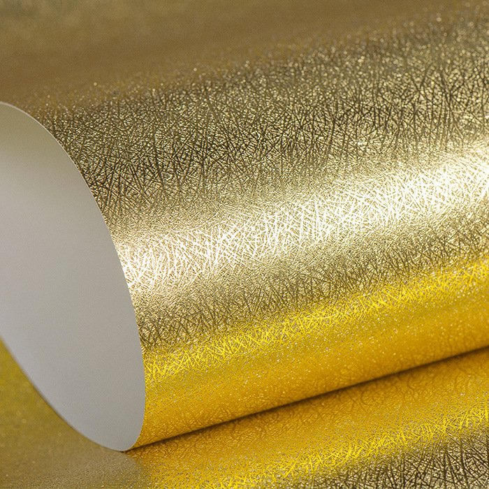 Gold Silver Brushed Plain Color Wallpaper KTV Corridor Hallway Hotel Hall Ceiling Reflective Gold Foil Wallpaper