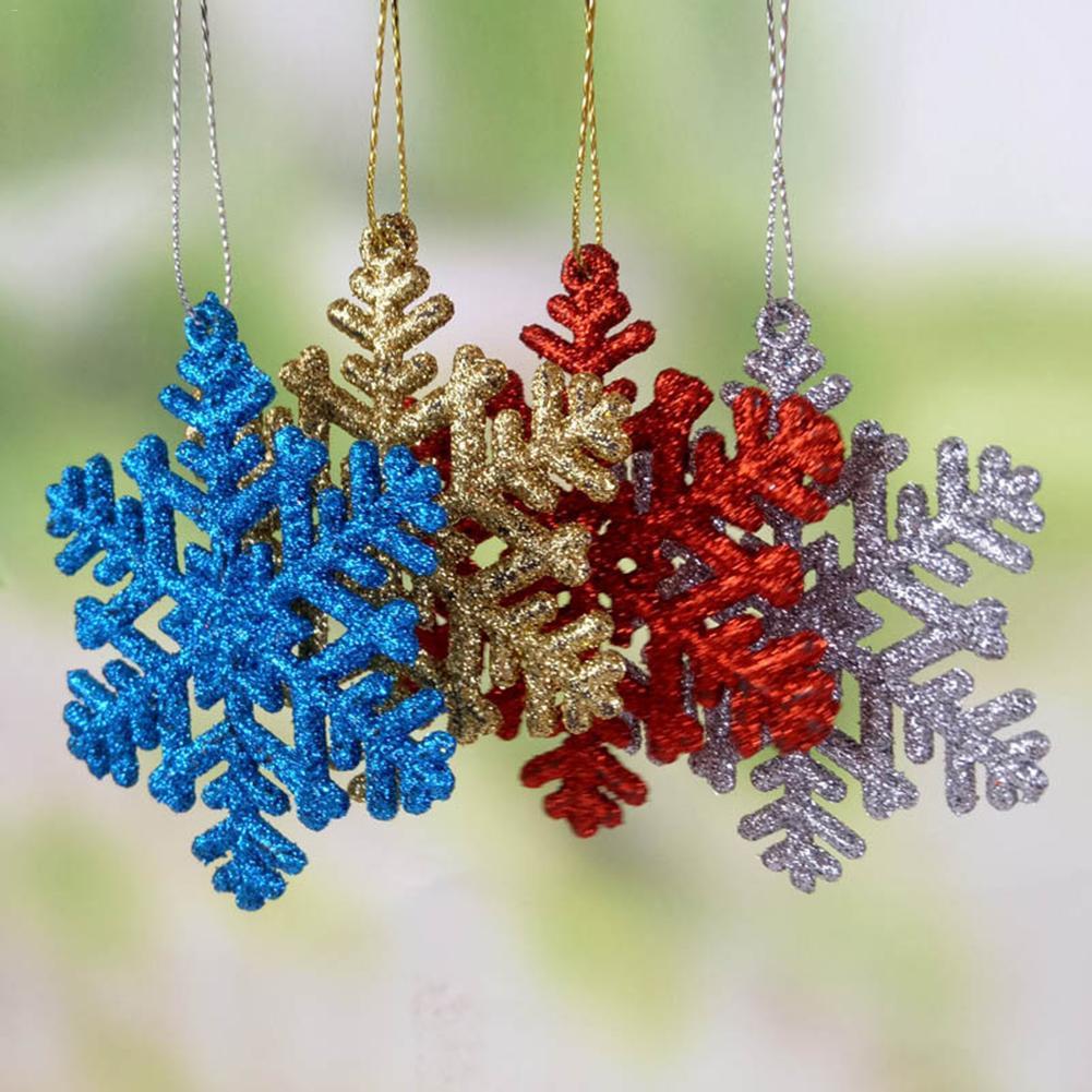 12Pcs//Set Plastic Glitter Snowflake Ornaments Christmas Tree Hanging Decoration