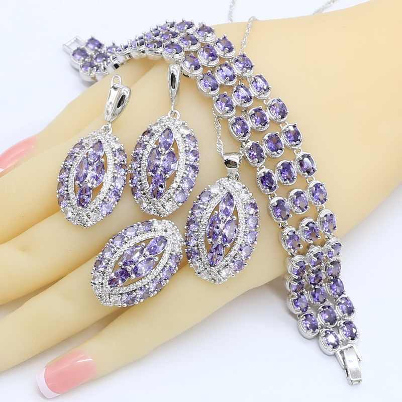 Geometric Purple  Zircon 925 Silver Jewelry Sets for Women Bracelet Earrings Necklace Pendant Ring Wedding Birthday Gift