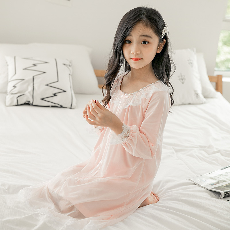 Girls Tracksuit Nightgown 2019 Autumn New Style Korean-style CHILDREN'S Pajamas Air Conditioning Clothes Big Boy Household Dress