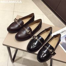 2020 Autumn Woman Flats Slip On British Loafers Brand Designer Low Heels Black Brown Leather Retro Ladies Shoes Casual Moccasins(China)