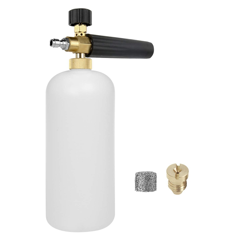 Lanzador de espuma de nieve, Cañón de espuma, filtro de malla de fabricante de espuma, boquilla de orificio boquilla generadora de espuma, lavado de coche ajustable Adaptador para boquilla de espuma/Cañón de espuma/generador de espuma/vaporizador de jabón de alta presión para Karcher K2 K3 K4 K5 K6 K7 lavadora a presión