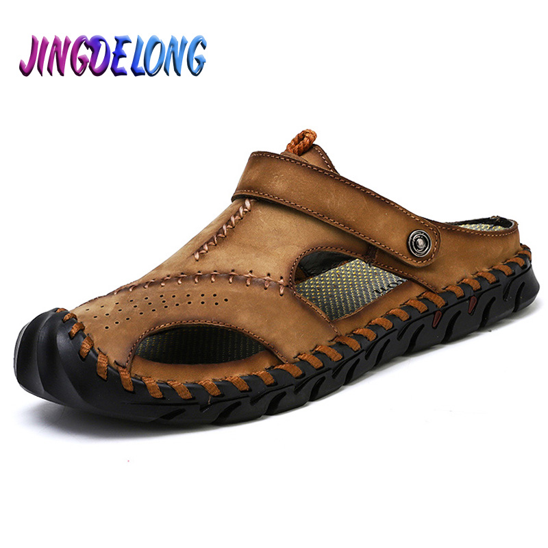 Fashion Men Soft Sandals Comfortable Breathable Men Casual Leather Sandals Men Roman Summer Outdoor Beach Sandals Big Size 38-46
